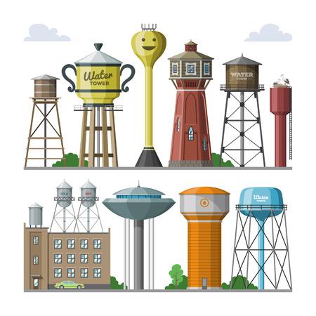 Réservoir de ressources aqueuses de stockage de réservoir de vecteur de château d'eau et château d'eau industriel de conteneur de structure métallique élevée dans l'ensemble d'illustration de ville de construction à tour isolé sur fond blanc. Vecteurs