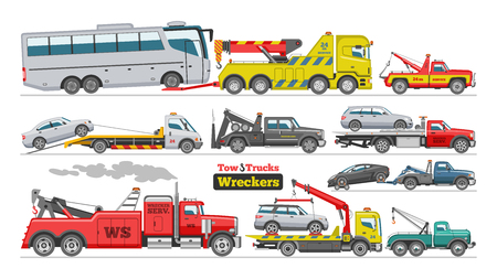 Abschleppwagen Vektor Abschleppwagen LKW Autobus Transport Abschlepphilfe auf Straßenillustrationssatz des abgeschleppten Autotransports lokalisiert auf weißem Hintergrund. Vektorgrafik