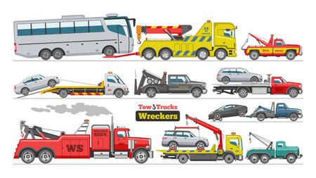 Camion de remorquage vecteur de remorquage voiture camionnage véhicule transport de bus aide au remorquage sur l'ensemble d'illustration de route de transport automobile remorqué isolé sur fond blanc. Vecteurs