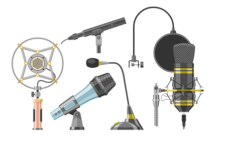 Microphone audio vector dictaphone and microphones for podcast broadcast or music record technology set of broadcasting concert equipment illustration isolated on white background.