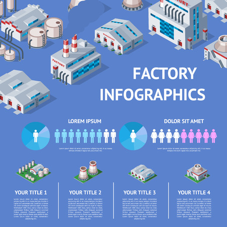 Factory vector industrial building and industry manufacture with engineering power illustration isometric infographics map of manufacturing construction producing energy or electricity on background Stok Fotoğraf - 116657018