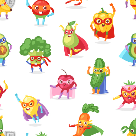 Superhero fruits vector fruity cartoon character of super hero expression vegetables with funny banana carrot or pepper in mask illustration fruitful vegetarian set