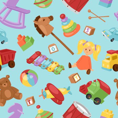 Set of different cartoon vector kids toys collection background playfull children stuff. Different cartoon vector toys Hors, piranide, car, ball. Illustration