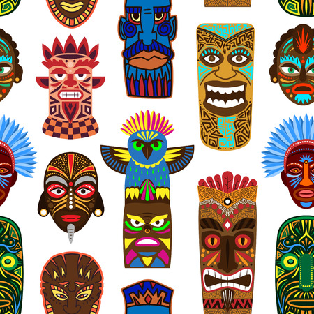 Tribal mask vector masking ethnic culture and aztec face masque illustration set of traditional aborigine masked symbol isolated on background. Stock Illustratie