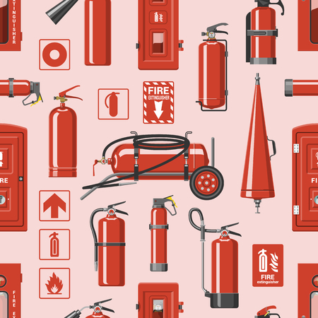 Fire extinguisher vector fire-extinguisher to for safety and protection to extinguish fire illustration set of extinguishing equipment of firefighter isolated on background Stok Fotoğraf - 117755285