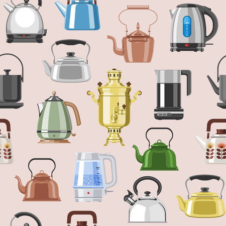 Teapot and kettle vector teakettle to drink tea on teatime and boiled coffee beverage in electric boiler in kitchen illustration kitchenware set isolated on background.