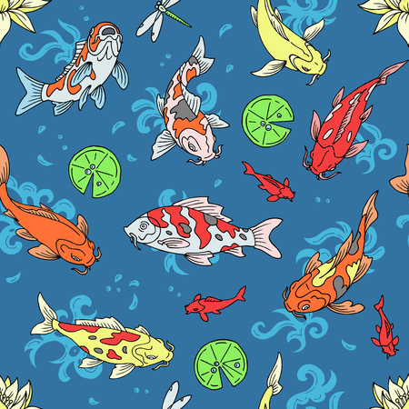Koi fish vector illustration japanese carp and colorful oriental koi in Asia set of Chinese goldfish and traditional fishery isolated background Stok Fotoğraf - 117755288