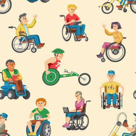 Disabled people in wheelchair vector character of handicapped person with physical disability illustration set of invalid man sitting in wheeled chair with isolated on background.