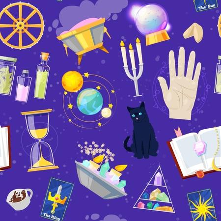 Fortune diseur de bonne aventure ou magie chanceuse du magicien avec des cartes et des bougies ensemble d'astrologie ou de signes mystiques
