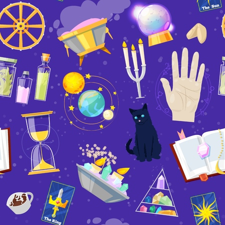 Fortune telling  fortune-telling or fortunate magic of magician with cards and candles  set of astrology or mystical signs Ilustração