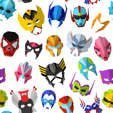 Mask vector masque and masking face cartoon character  set of powerful masked symbol isolated Stok Fotoğraf - 127717705