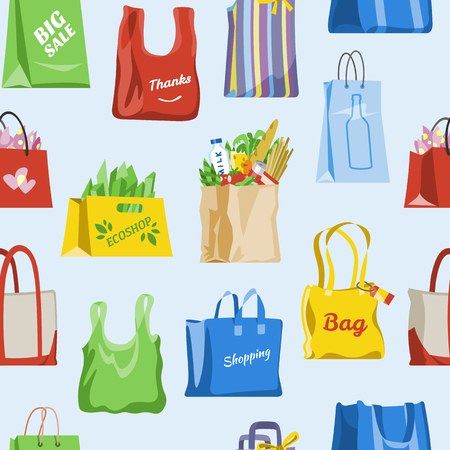 Shopping bag vector shop paper-bag and baggy package for gift or sale purchase from fashion store illustration set of shoppers bagged package isolated on background.