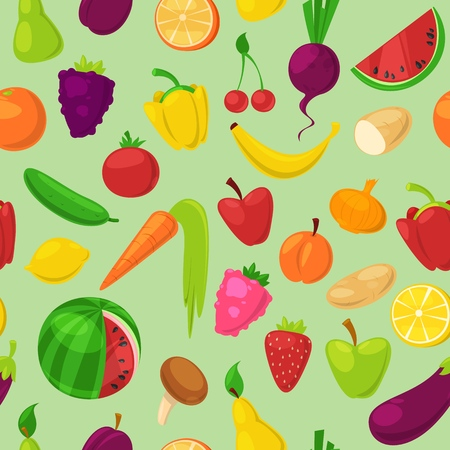 Fruits vegetables vector healthy nutrition of fruity apple banana and vegetably carrot for vegetarians eating organic food from grocery illustration vegetated set diet isolated on background. Zdjęcie Seryjne - 124755362