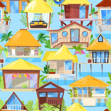 Villa vector facade of house building and tropical resort hotel on ocean beach in paradise illustration set of bungalow in village seamless pattern background.