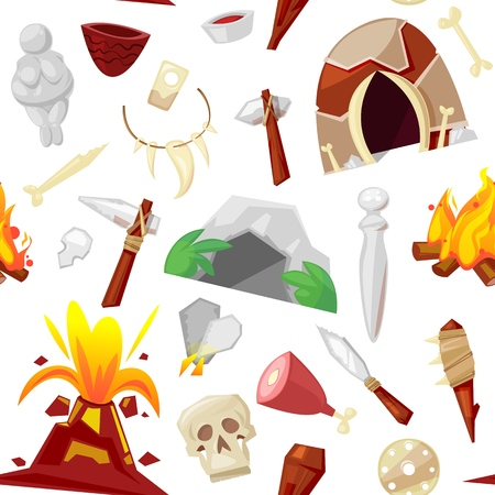 Stone age vector primeval neanderthal stoned weapon axe and prehistoric primitive spear of ancient caveman illustration of cave paintings and volcano or bonfire set isolated on background.