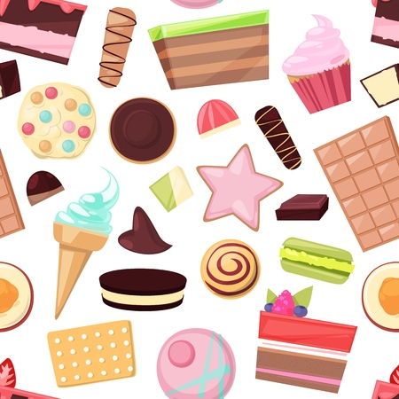 Confectionery sweets chocolate candies and sweet confection dessert in candyshop illustration of confection cake or cupcake with choco cream set