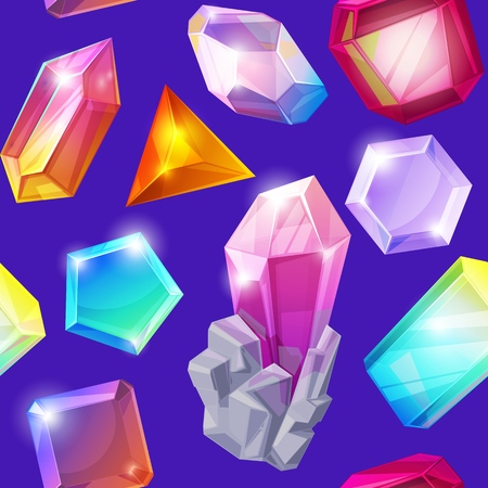 Crystal stone vector crystalline gem and precious gemstone for jewellery illustration set of jewel or mineral stony crystallization of natural quartz isolated on background. 向量圖像