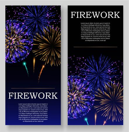 Fireworks festival bursting in various shapes and colors, sparkling lights against black  set of banners or flyers