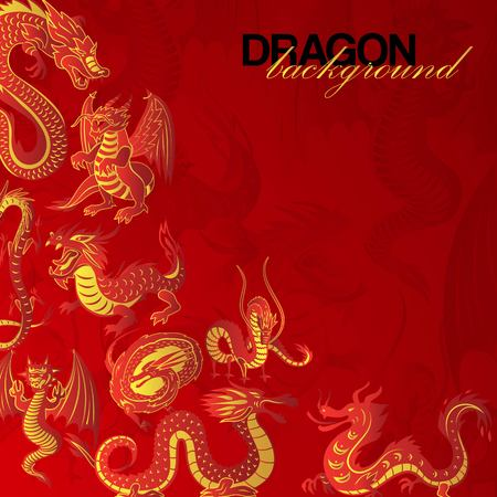 Traditional Chinese red dragon  banner