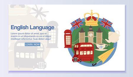 English language banner web design Ilustração