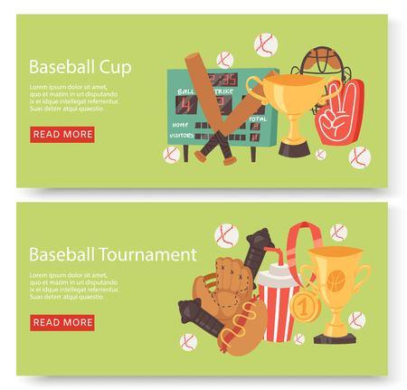 Baseball club or tournament set of banners, flyers Ilustracja