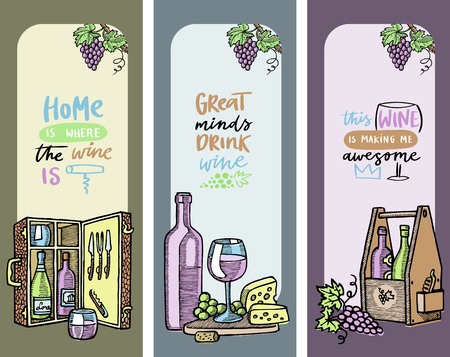Winery set of cards, banners