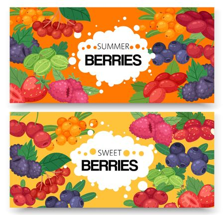 Sweet forest fruits and berries set of banner
