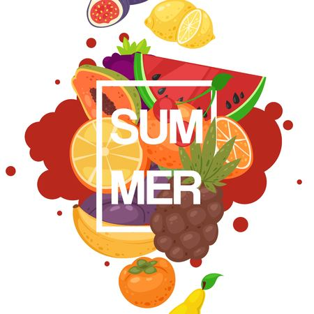 Summer fruit banner with fresh product for farm market. Ilustracja