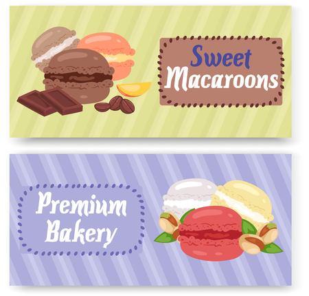 Sweet macaroons premium bakery shop set of banners Ilustração