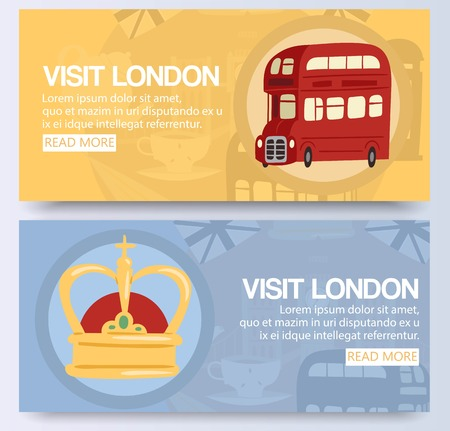 Visit and discover London on double decker red bus banner