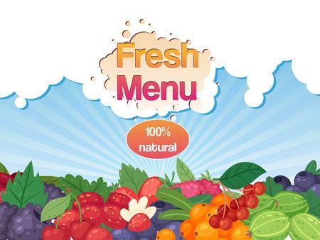Fresh menu with berries banner Ilustração