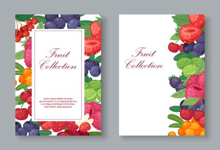 Collection of fresh fruit with berries set of banners Ilustração