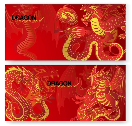 Traditional Chinese red dragon  set of banners