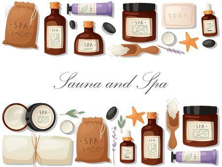 Sauna and spa banner Ilustracja