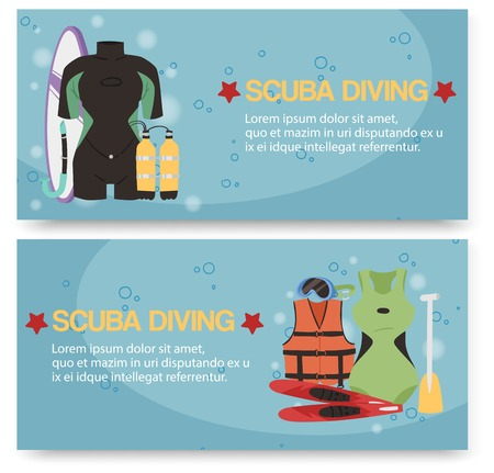Scuba diving center set of banners