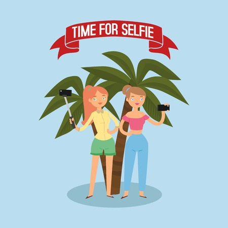 Time for selfie. Girls talking photo with stick banner flat