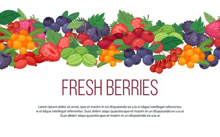 Forest fruits and berries banner Ilustracja