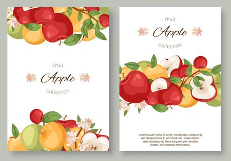 Apples fruit collection set of posters vector illustration. Bright colorful orchard or garden product. Healthy fresh and organic food. Apple brochure book cover of different color and shape. Ilustracja