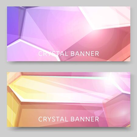 Crystal background set of banners vector illustration. 3d abstract shape with shiny and glossy jewellery stone for advertisement, greeting and invitation cards. Gradient colors.