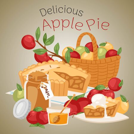 Apple pie banner vector illustration. Apple basket with jar of honey and bottle of jam. Delicious cake with ice-cream on top. Fresh and organic food. Apple of different color.