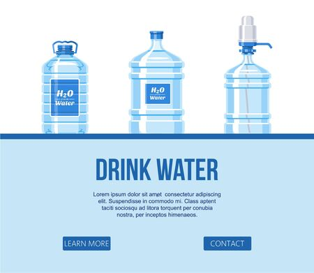 Drink water in plastic bottle set on white background website design banner vector illustration. Healthy agua bottles vector. Clean, pure drink in plastic water container with pump.