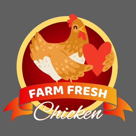Farm fresh chicken banner vector illustration. Happy hen holding heart. Selling organic and natural food. Advertisement of shop or store. Healthy eggs and meat. Joyful chick.