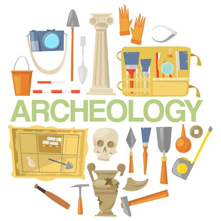 Archaeology icon set banner vector illustration. Archaeological tools, ancient artifacts isolated on white background. Supplies and tools for excavations such as gloves, brush.