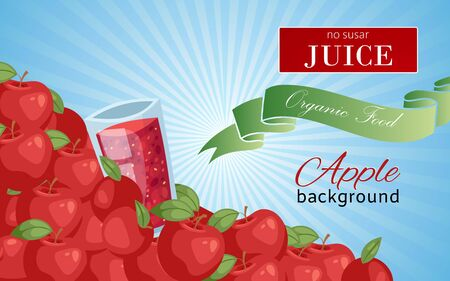 Apple juice in glass background banner vector illustration. No sugar juice. Healthy fresh food. Glass of organic drink. Natural and sweet products. Elements for menu, bar advertisement.