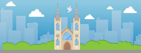 Catholic church with spire and stained glass windows banner vector illustration. Beautiful place in city. Catholic Roman Christian temple. Old medieval building. Gothic attraction.