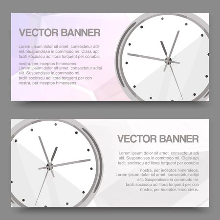 Clock realistic detailed set of banners, horizontal cards with place for text for business presentation vector illustration. Time management. Modern template watch design.