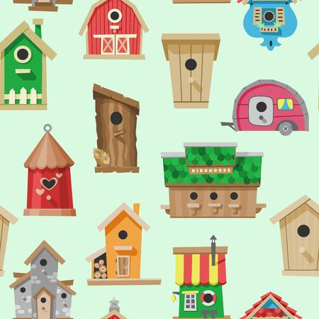 Birdhouses seamless pattern vector illustration. Nesting boxes to hang on tree. Wooden colorful constructions to feed birds, small buildings of planks with hole.