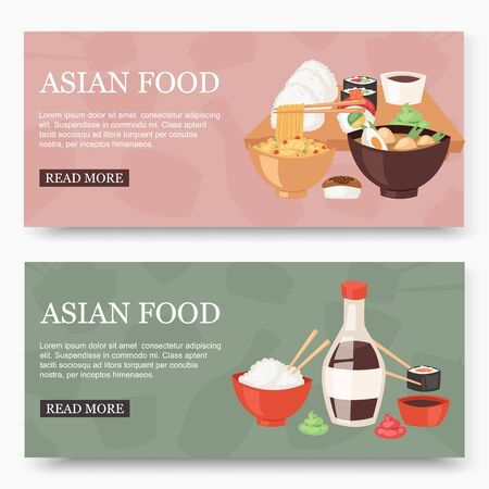 Asian food set of banners vector illustration. Traditional national dishes for menu, advertisement. Asian cuisine with noodles, soup, sushi with sauce and rice web design.