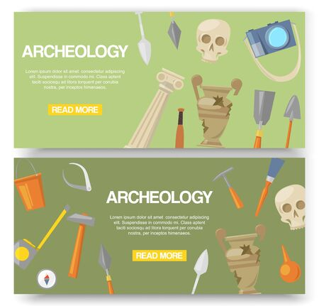 Archaeology set of banners vector illustration. Archaeological tools, ancient artifacts website design. Supplies and tools for excavations such as skull, gloves, brush, hammer and bucket.