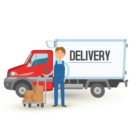 Delivery truck van and man service background. Man holding cart with boxes banner vector illustration. Delivering packages. Male character standing on background of truck, vehicle or car